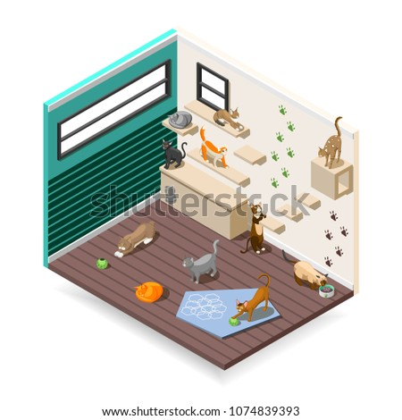 Home for purebred cats with various facilities for sleep, games, nutrition  isometric composition vector illustration