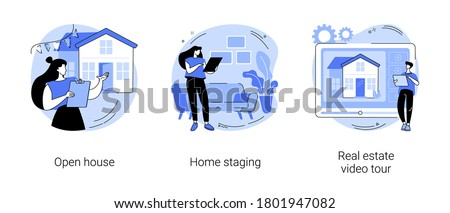 Home for sale abstract concept vector illustration set. Open house, home staging, real estate video tour, floor plan, walk through, private residence, potential buyer, furniture abstract metaphor.