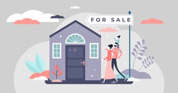 Home for sale vector illustration. Buy house in flat tiny people concept. Family purchase investment real estate property. New residential building with classical commercial information sign scene