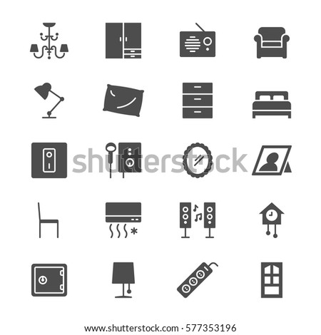 Home furniture flat icons