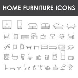 Home furniture icons set.