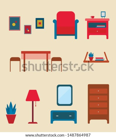 Home furniture. Room Interior. Flat style.