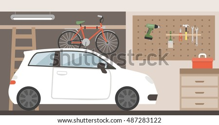 home garage with car  bike and