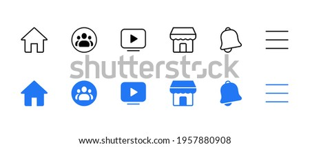 Home, Group, Watch, Marketplace, Notification, Menu. Facebook Element Icon Set Collection