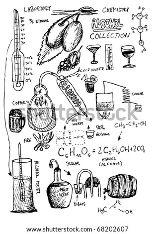 home hand drawn alcohol laboratory