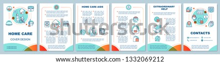 Home health care brochure template layout. Assisted living. Medical, cleaning help. Leaflet print design, linear illustrations. Vector page layouts for magazines, annual reports, advertising posters