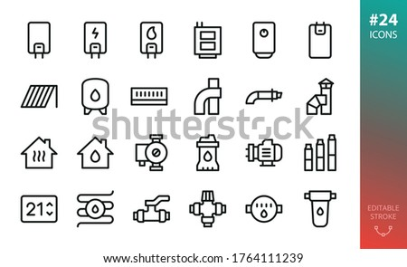 Home heating and water supply system icons set. Set of gas boiler, electric heater, solid fuel boiler, solar collector, expansion water tank, coaxial chimney pipes, submersible water pump, valve icon ストックフォト ©