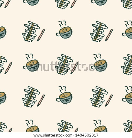 Home hobbies and occupations abstract concept illustration, seamless repeat pattern. Doodle cute style in retro style. For blogs, web, editorial and print. Daily routine, leisure, crafts, retired