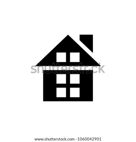 Home, house, apartment, windows, roof, real estate, mortgage, construction, flat, home page web vector illustration symbol icon pictogram logo design template