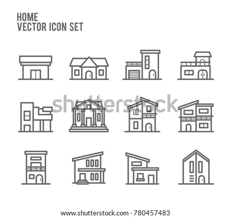 Home House Building Type Outline Vector Icon Set. Included the icons as court, modern loft, shop, restaurant, store, property and more.