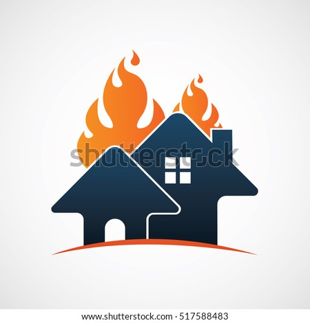 home house on fire logo