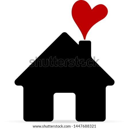 Home icon. House with heart. Real estate. Image for web applications, mobile applications, print.