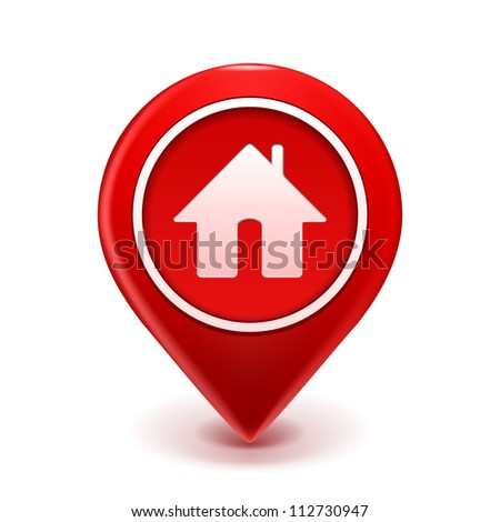 Home Icon Pin Deal. Vector illustration isolated on white