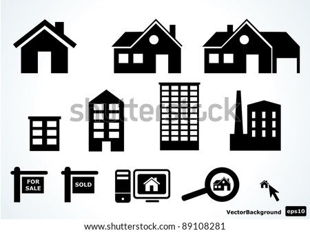 Home icon set - stock vector