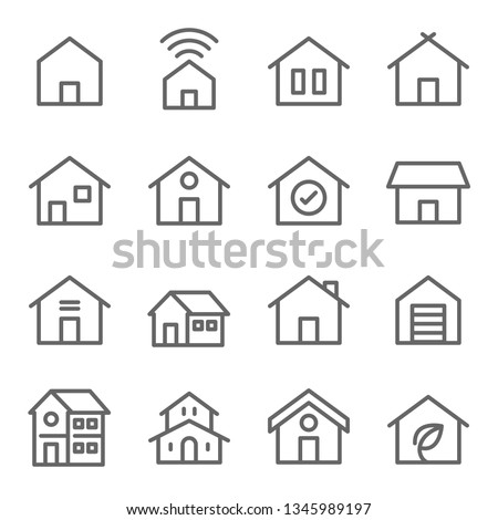 Home Icon Set. Contains such Icons as House, Property, Church, Garage, Smart Home and more. Expanded Stroke