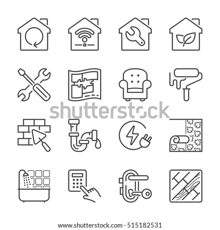 home improvement and repair thin line icon set, black color, isolated