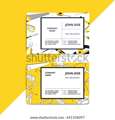 Professional clean business card design download free vector art home improvement corporate business card with repair tools house construction id template renovation background colourmoves