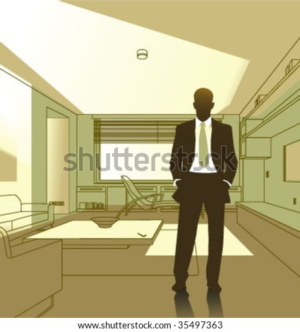 home interior and businessman vector