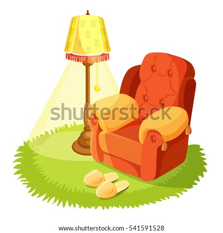Home interior design. Cosy armchair with cushions, yellow torchere and round grass textile rug isolated on white. Home slippers on carpet. Indoors house design. Vintage furniture. Vector illustration