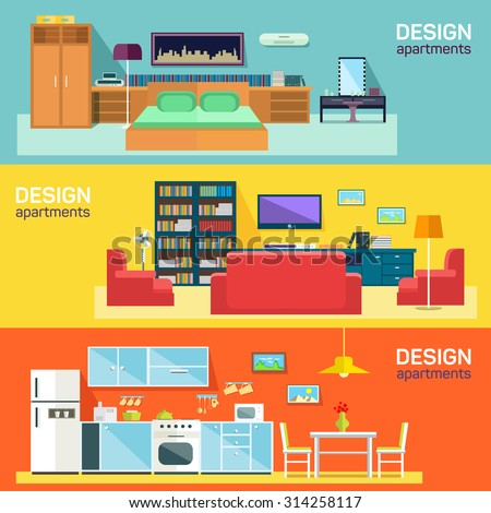 Home interior design for kitchen bed and sitting rooms furnishing flat