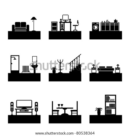 home interior design silhouette icons, easily editable for color change