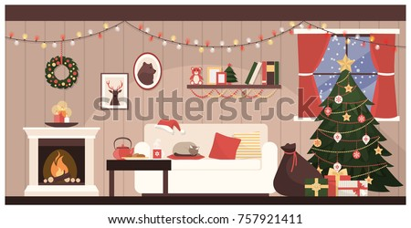 home interior with christmas