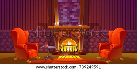 home interior with fireplace...