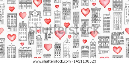 Home is where the heart is - seamless banner with hand drawn houses and watercolor hearts