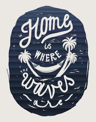 home is where the waves are - hammock on palm-trees ocean print