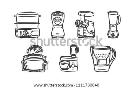 Home kitchen appliance hand drawn icons set with on blender, mixer, food processor, meat grinder and other. Vector illustration sketch icon