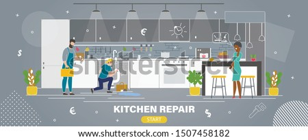 Home Kitchen Repair Service Flat Vector Web Banner. Repairmen, Plumbers Team Trying Stop Water Leaking Under Sink, Repairing and Replacing Damaged Pipe Line, Worried Woman Calling Phone Illustration