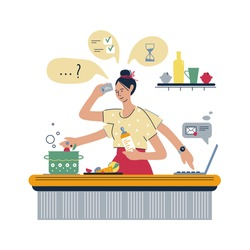 Home lifestyle. Busy mother, multitasking woman. Busy super mother working at home. Woman freelancer working on laptop at home. Vector flat style illustration.