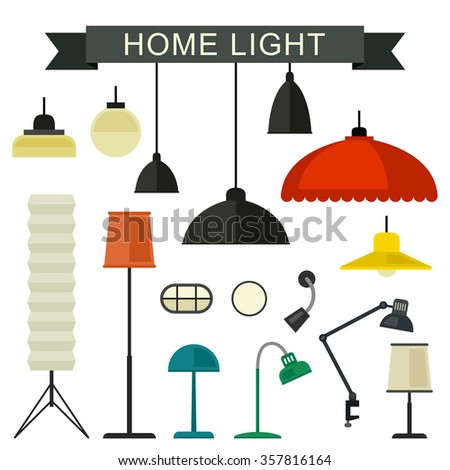 Shutterstock Home light with lamps icons in flat style. Simple vector illustration.