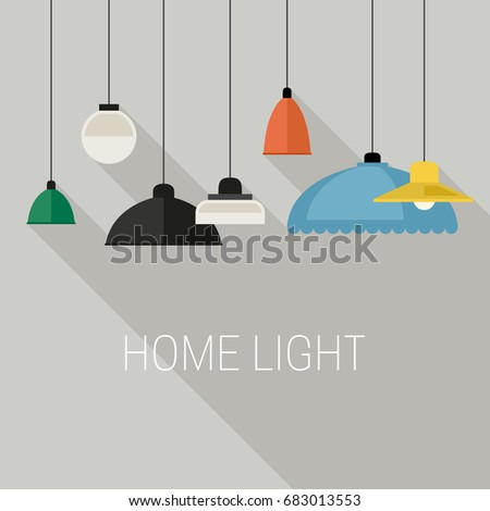 Home lighting icons with long shadow. Vector flat banner with hanging lamps.