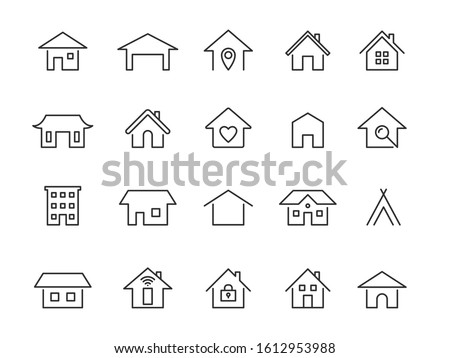 Home line icons. Modern outline houses app signs. Website interface and hotel buildings residency vector linear symbol set