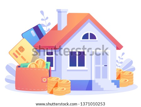 Home Loan concept, Rent,  Buying a property. Real estate agent at work,  investment, mortgage, house loan, account, banking. Concept for presentation, web page