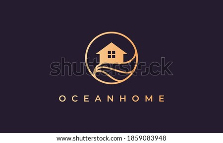 home logo of gold line with house in circle shape with ocean wave Stock photo ©
