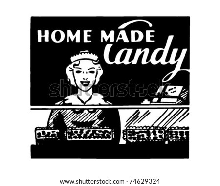 home made candy   retro ad art