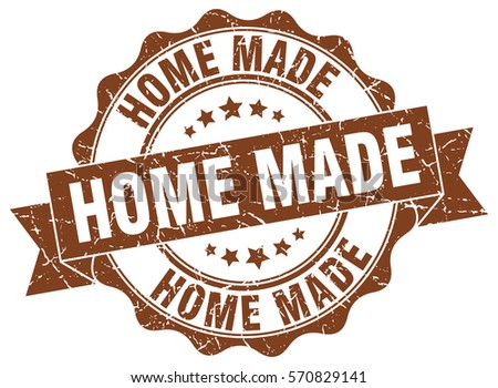 home made. stamp. sticker. seal. round grunge vintage ribbon home made sign