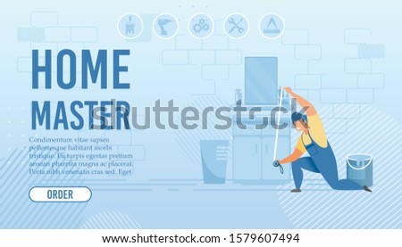 Home Master Flat Landing Page. Service for Order Custom-Made Furniture. Repairman Character in Bathroom at Work Measuring Size with Yardstick. Help in Interior Design. Vector Cartoon illustration