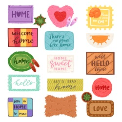 Home mat vector welcome doormat in front of house entrance and doorway matting rug for visitors illustration household set of homecoming enter decoration isolated on white background