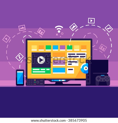 Home Media Center. Smartphone, Smart TV, game console, gamepad. Vector flat illustration. #385673905