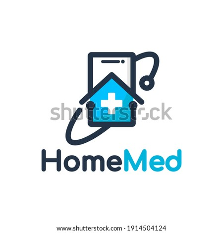 Home medical with phone vector logo template. This design use stethoscope symbol. Suitable for health