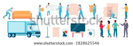 Home moving and relocation set, flat vector isolated illustration. Delivery truck, workers, loaders, movers carrying cardboard boxes, sofa, assembling furniture. Moving and delivery company services. ストックフォト ©