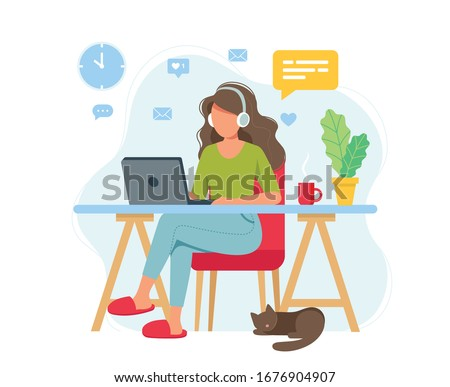 Home office concept, woman working from home, student or freelancer. Cute vector illustration in flat style