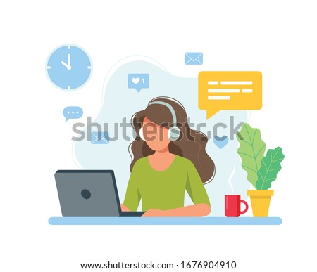 Home office concept, woman working from home, student or freelancer. Cute vector illustration in flat style Foto stock ©