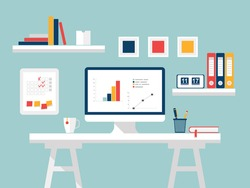 Home office, desktop White Furniture and Accessories. Flat design of modern studio interior. Creative home workspace, workplace for student with computer. Vector illustration