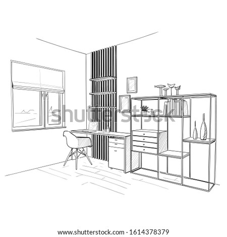home office interior hand drawn