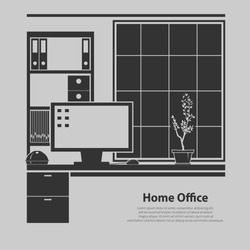 Home office interior. Vector illustration