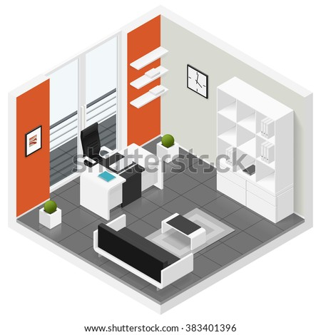 home offices room isometric